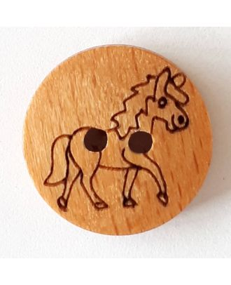 novelty button wood horse with 2 wholes - Size: 18mm - Color: brown - Art.No. 261291