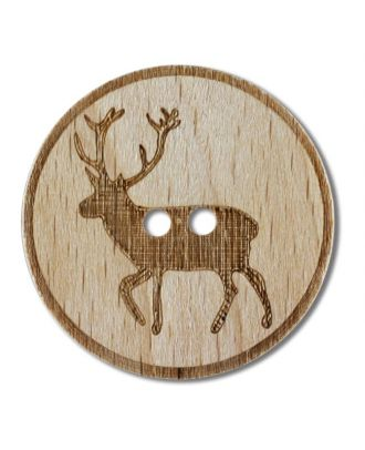 wood button deer 4-holes - Size: 28mm - Color: brown - Art.No. 341269