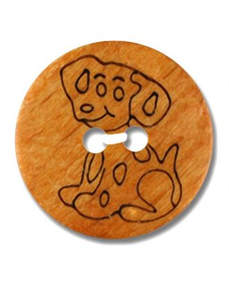 wood button dalmatian 2-hole - Size: 18mm - Color: brown - Art.No. 261326