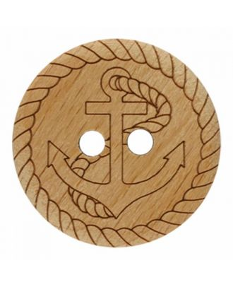 wood button anchor with two holes - Size: 28mm - Color: brown - Art.No. 341358