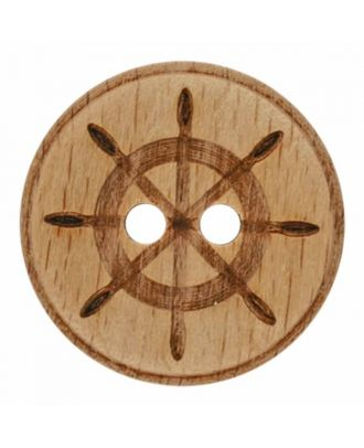 wood button steering wheel with two holes - Size: 18mm - Color: brown - Art.No. 281175