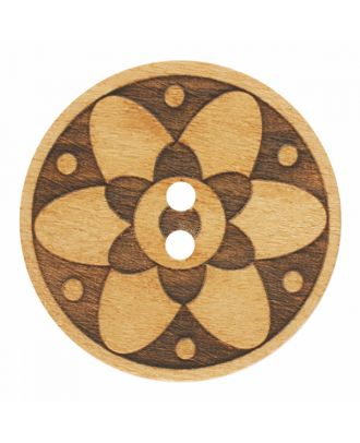 wood button round shape with floral design and 2 holes - Size: 18mm - Color: brown - Art.-Nr.: 281186