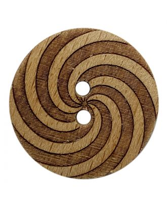 wood button round shape with pattern and 2 holes  - Size: 23mm - Color: braun - Art.No.: 311116