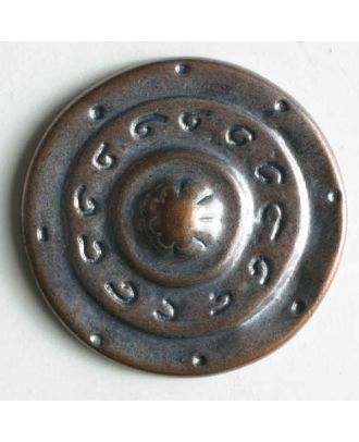 Full metal button - Size: 15mm - Color: copper - Art.No. 250905
