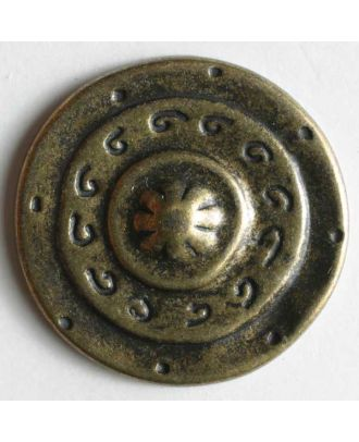 Full metal button - Size: 15mm - Color: antique brass - Art.No. 250906