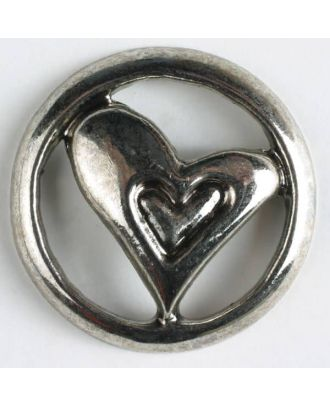 full metal button - Size: 30mm - Color: antique silver - Art.No. 370148