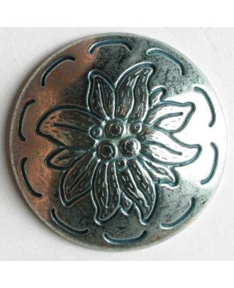 Edelweiss button, full metal - Size: 25mm - Color: antique silver - Art.No. 350233