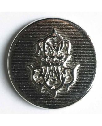 Coat of arms button, full metal - Size: 15mm - Color: silver - Art.No. 240840