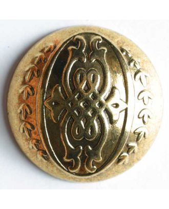 Full metal button - Size: 28mm - Color: antique gold - Art.No. 370169