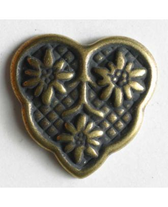 Heart button, full metal - Size: 18mm - Color: antique brass - Art.No. 300519