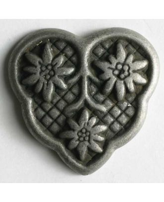 Heart button, full metal - Size: 25mm - Color: antique tin - Art.No. 360259