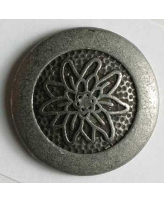 Edelweiss button, full metal - Size: 23mm - Color: antique tin - Art.No. 330367