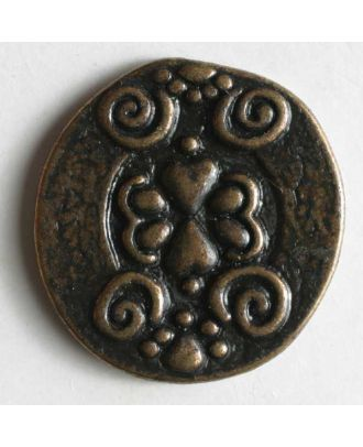 Full metal button - Size: 18mm - Color: antique brass - Art.No. 290462