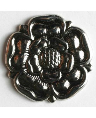 Rose button, full metal - Size: 19mm - Color: antique silver - Art.No. 231367
