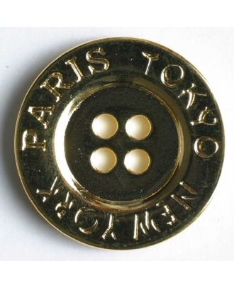 Full metal button - Size: 23mm - Color: gold - Art.No. 340447