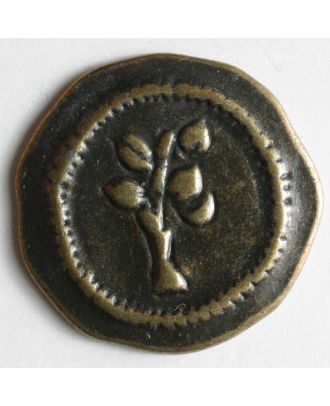 Full metal button - Size: 20mm - Color: antique brass - Art.No. 300580