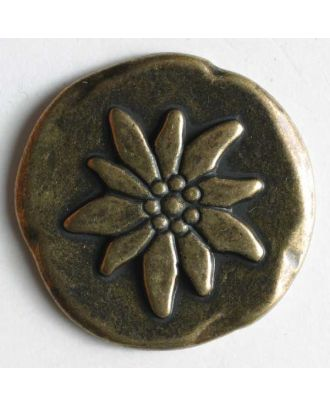 Edelweiss button, full metal - Size: 25mm - Color: antique brass - Art.No. 350268