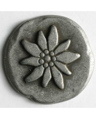 Edelweiss button, full metal - Size: 20mm - Color: antique tin - Art.No. 300583