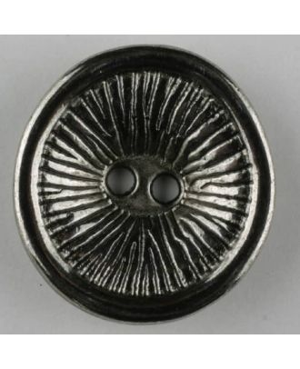 full metal button, round. 2 holes - Size: 28mm - Color: antique silver - Art.-Nr.: 360485
