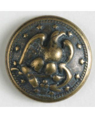 Metal button with shank - Size: 15mm - Color: antique brass - Art.No. 241205