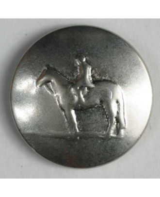 Horse button, full metal  - Size: 20mm - Color: dull silver - Art.No. 300880