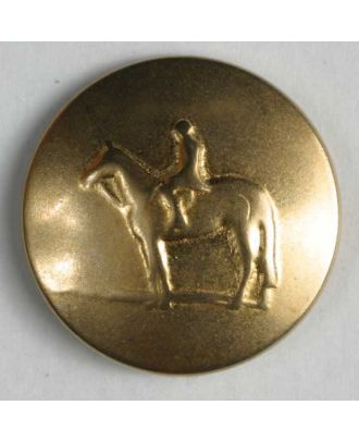 Horse button, full metal  - Size: 20mm - Color: dull gold - Art.No. 320535