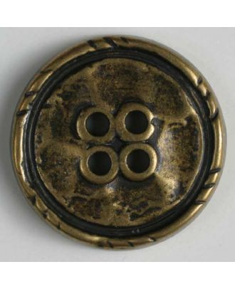 Full metal button - Size: 15mm - Color: antique brass - Art.No. 241079