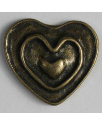 Heart button, full metal - Size: 18mm - Color: antique brass - Art.No. 290662