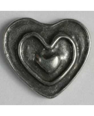 Heart button, full metal - Size: 28mm - Color: antique tin - Art.No. 360364