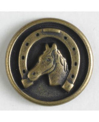 Metal button with shank - Size: 15mm - Color: antique brass - Art.No. 241201