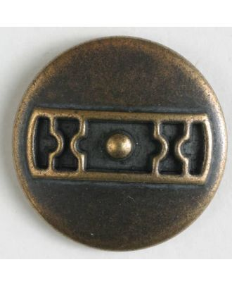 Metal button with shank - Size: 25mm - Color: antique brass - Art.No. 370590