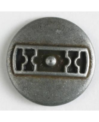 Metal button with shank - Size: 25mm - Color: antique tin - Art.No. 370591