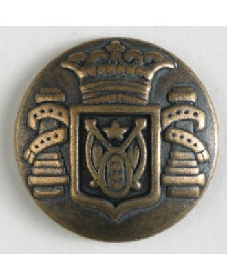 Metal button with shank - Size: 23mm - Color: antique brass - Art.No. 330804