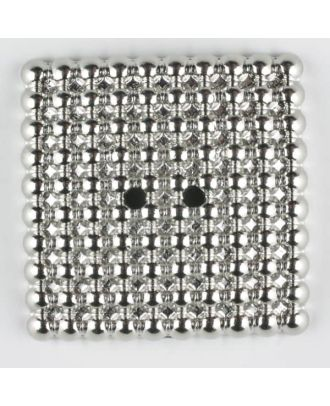 full metal button, square, 2 holes - Size: 48mm - Color: silver - Art.-Nr.: 450183