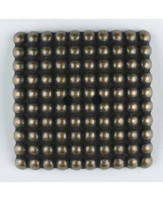 full metal button, square, 2 holes - Size: 34mm - Color: antique brass - Art.-Nr.: 380327
