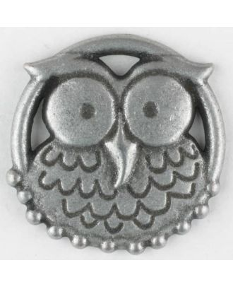 full metall button, Nicky Epstein - Hoot Owl, with shank - Size: 25mm - Color: antique tin - Art.No. 390302