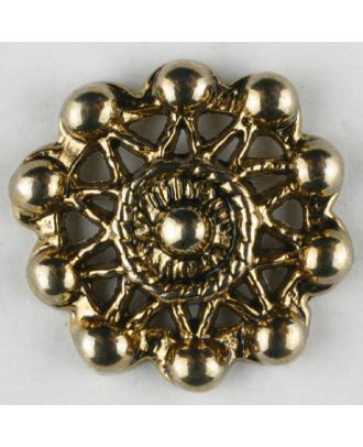 Full metal buttons, round, with shank - Size: 25mm - Color: antique gold - Art.No. 370759