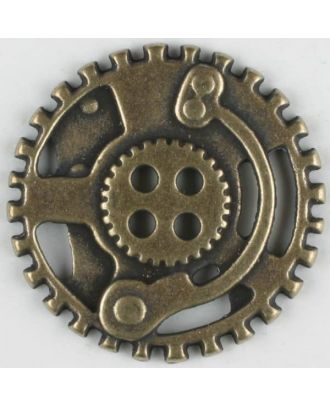 steampunk button with 4 holes - Size: 23mm - Color: antique brass - Art.No. 331078