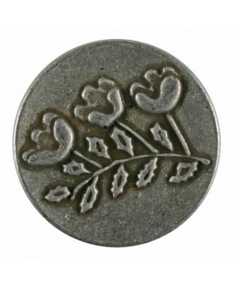 full metall button with flowers and shank - Size: 25mm - Color: antique tin - Art.No. 370877