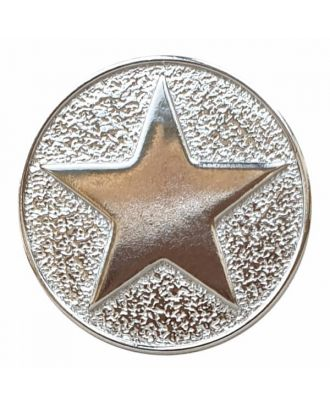 full metal button star with shank  - Size: 25mm - Color: silver - Art.No. 370881