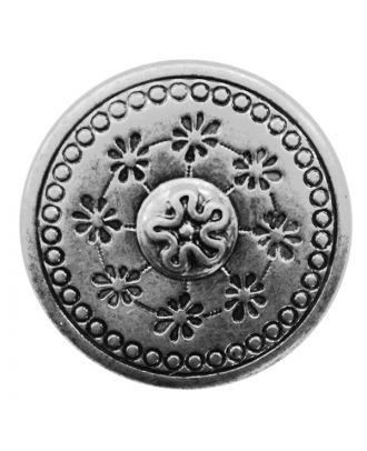 full metal button with floral design and shank - Size: 20mm - Color: altsilber - Art.No.: 311106