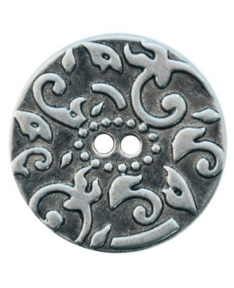 full metal button with structure and 2 holes - Size: 20mm - Color: altsilber - Art.No.: 311109