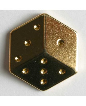Dice button - Size: 20mm - Color: gold - Art.No. 370109
