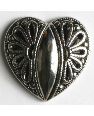 Heart button, full metal - Size: 20mm - Color: antique silver - Art.No. 280667