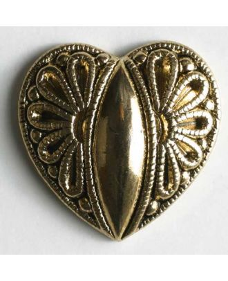 Heart button, full metal - Size: 15mm - Color: antique gold - Art.No. 260628