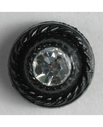 nylon button with rhinestones - Size: 9mm - Color: black - Art.-Nr.: 310530