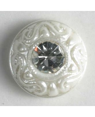 nylon button with rhinestones - Size: 9mm - Color: white - Art.-Nr.: 310532