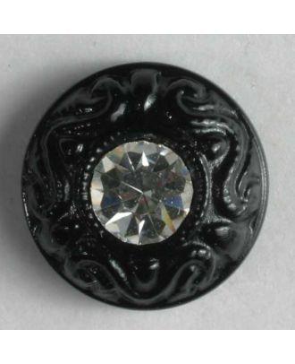 nylon button with rhinestones - Size: 9mm - Color: black - Art.-Nr.: 310533