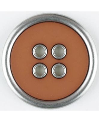 two-piece full metall button-polyamide button, round, 4 holes - Size: 20mm - Color: brown - Art.No. 320650