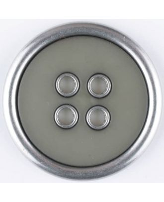 two-piece full metall button-polyamide button, round, 4 holes - Size: 30mm - Color: brown - Art.No. 370733